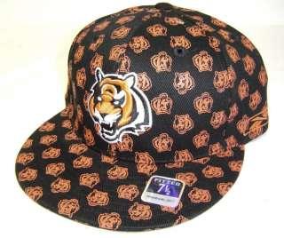 Cincinnati Bengals Black Multi Logo Fitted Flat Bill Cap NFL Hat