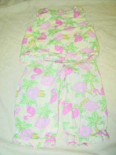 CUTE Girls 2 Piece Outfit   Size 4T   Top & Capris w/ FLAMINGOS & PALM