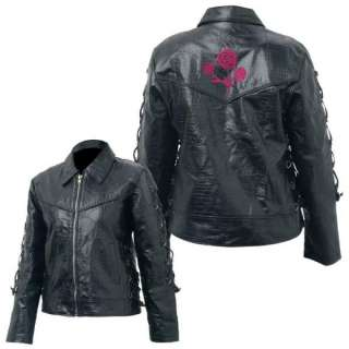 Ladies Womens Black Leather Motorcycle Jacket ROSE 2X