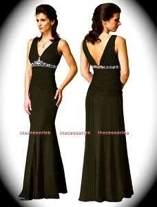 WEDDING Evening GOWN FORMAL DRESS Black Purple Red