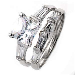 Sterling Silver Women Wedding/Engagement Size 6 Ring Set CZ