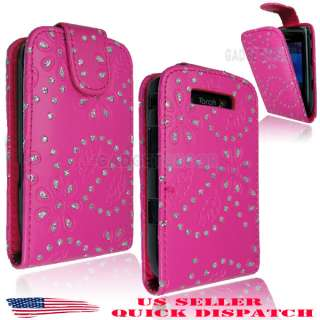 TORCH 9800 BLING DIAMOND PINK LEATHER FLIP CASE COVER POUCH