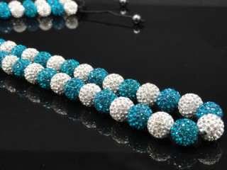 Mens Blue & White/Red & Black/Green & White Swarovski Crystal Chain
