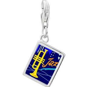 Silver Gold Plated Music Jazz Trumpet Photo Rectangle Frame Charm