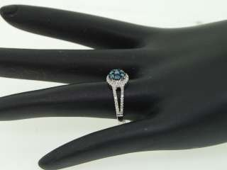 LADIES .48 CT WHITE GOLD BLUE DIAMOND ENGAGEMENT RING