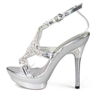 womens silver dress rhinestones platform heels sandals shoes