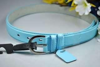New SKY BLUE Womens Skinny Leather Belts SZ (XL)
