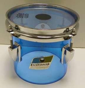 Ludwig Blue Vistalite Vintage RARE 6 Concert Tom Drum 70s Acrylic