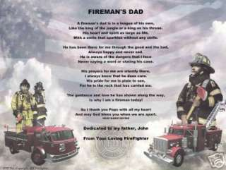 FIREMAN FIREFIGHTER Poem Prayer Personalized Name Print