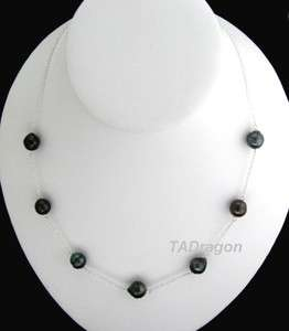 18 Tahitian black Pearl 14K White Gold Chain Necklace