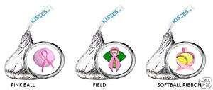 BREAST CANCER PINK RIBBON kiss labels SOFTBALL BASEBALL