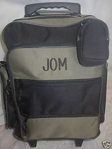 Rolling Luggage School BookBag Khaki Green Personalized
