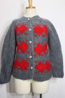 Vintage Womens Italian Mohair Wool Cardigan Sweater Small