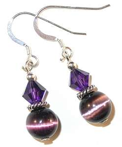 SWAROVSKI CRYSTAL Elements & CATSEYE Sterling Silver Earrings Amethyst