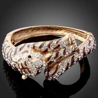 Swarovski Crystal Enamel Spots Leopard Bangle Bracelet