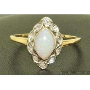 1.40 CTW Opal & Diamond Antique Style Ring 14K Yellow Gold