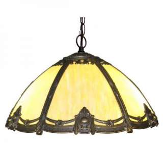 Antique Style Victorian Stained Bent Glass Hanging Lamp