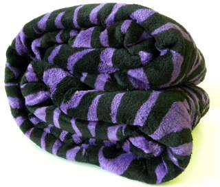 Super Soft Purple Black Zebra Print Microfiber Blanket Throw King Size