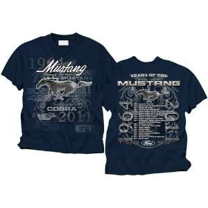 Ford Mustang Years Of The Mustang Navy Blue Mens Tee Xl 86774