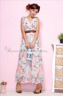 Womens V Neck Floral Empire Flower Long Maxi Summer Sun Dress XS M