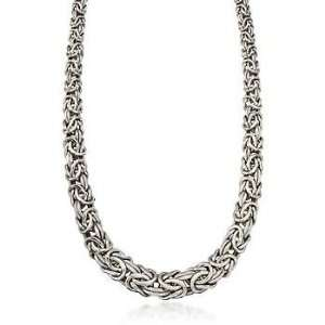 Sterling Silver Graduated Byzantine Necklace Jewelry