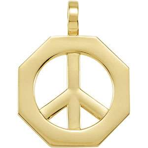 14K YELLOW GOLD OCTAGON PEACE SIGN PENDANT LARGE SOLID