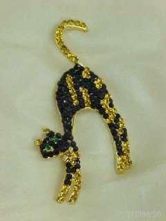 LARGE BLACK ARCHED CAT HALLOWEEN RHINESTONE PIN BROOCH