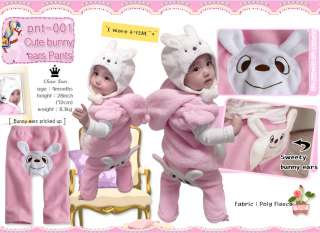 Made in Korea Cute Rabbit Ears Baby Girl Infant Warm Pants / PNT 001
