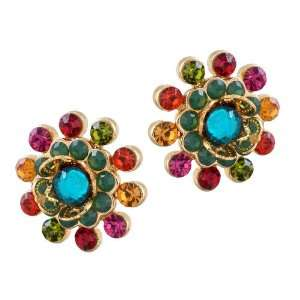 Michal Negrin Gold Plated Stylized Flower Post Earrings Adorned with