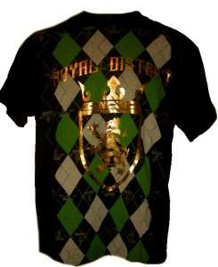 NEW ROYAL DISTRICT PLAID CROWN GOLD FOIL T SHIRT MENS 2XL