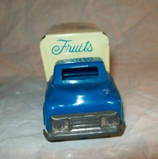 vintage tin and plastic friction Fresh Fruit truck pressed steel Made