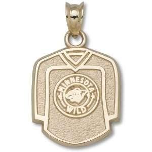 Minnesota Wild 5/8 Jersey Pendant   14KT Gold Jewelry