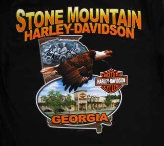 STONE MOUNTAIN HARLEY DAVIDSON MENS CUSTOM DEALER TEE SHIRT GEORGIA