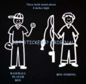 Stick Family Boy BASEBALL FOOTBALL ICE HOCKEY SOCCER Player Car