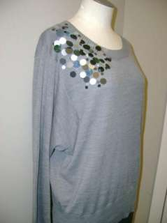 Ellen Tracy Dolman Sleeve Sweater w/Sequins XL NWT $89
