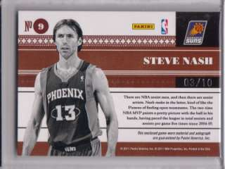 Steve Nash SP AUTO #03/10 2010 11 National Treasures Biography