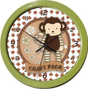 Personalized Nali Jungle Monkey Nursery Wall Clock