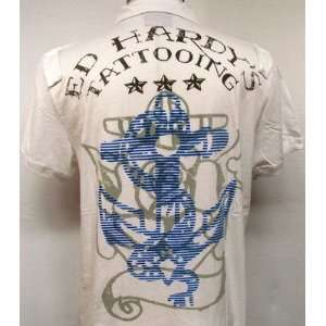 ED HARDY TATTOOING MENS ANCHOR POLO SHIRT M $129 CHRSITIAN