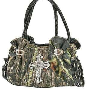 Western Mossy Camo RHINESTONE Bling Cross Handbag Purse