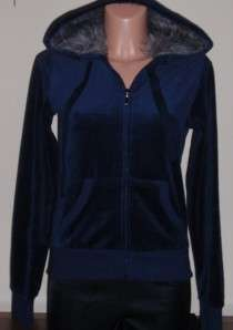Romeo & Juliet Couture Cute Navy Blue Velour Hoodie Jacket With Fur