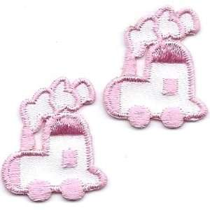 Choo Choo Train Pink & White Set/ Iron On Appliques