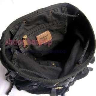 Khaki Retro Canvas Rucksack Backpack Bag Travel Leather