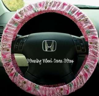 Car Steering Wheel Cover Pink Skull Crossbones Print