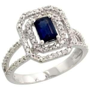 Emerald Cut Blue Sapphire Stone, 9/16 in. (14mm) wide, size 8 Jewelry