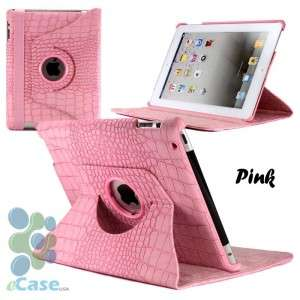 Leather Print 360 Rotating Swivel Stand Smart Cover Case iPad 2