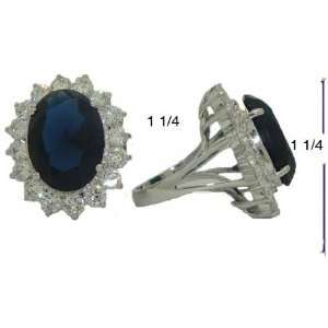 Plated Large Cz Sapphire Princess Kate Ring Size 5
