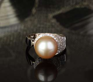 Unique Pave 10.8mm South Sea Pearl Solid 14K Yellow Gold .35ct Diamond