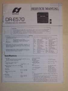 Sansui Service Manual~DR E570 Sereo Sound Sysem~Original |
