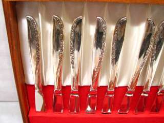 SET 51 WM ROGERS AA SILVER PLATE BRITTANY ROSE FLATWARE