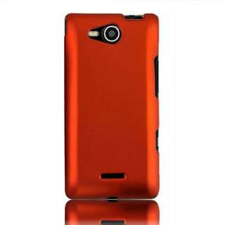 For Verizon LG Lucid 4G VS840 Accessory Orange Rubberized Hard Case
